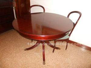 Mesa estilo inglés, extensible,con 6 sillas