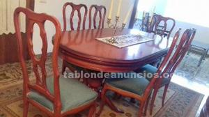 Comedor (mueble, mesa y 6 sillas tapizadas)