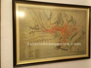 Litografía mapa antiguo de cuenca s. Xix