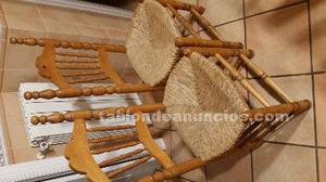 4 sillas de madera y asiento de enea