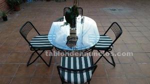 Mesa para jardin o terraza + 4 sillas + 4 cojines