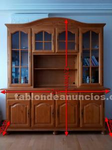 Mueble salón rústico - vitrina - tv