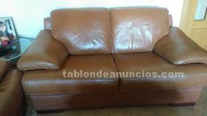 Conjunto de sofas de piel de 2 y 3 plazas