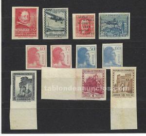 Filatelia: lote de sellos sin dentar de la ii república.