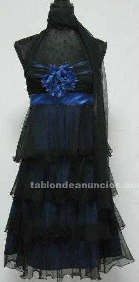 Vestido azul y negro