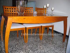175 € mesa madera maciza y 6 sillas