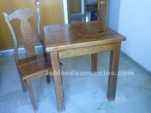 Mesa y silla a juego madera maciza mexicana 70 x 70 cms
