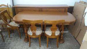 Comedor roble macizo,mesa, seis sillas y aparador