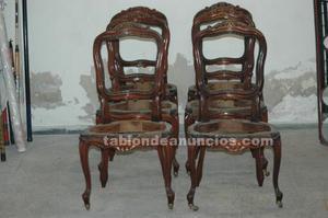 6 sillas de madera de caoba