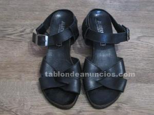 Sandalias mujer piel negras: cuña, número 36