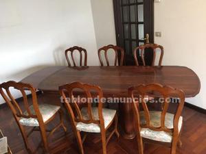 Mesa salón roble con 6 sillas