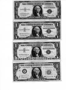 12 billetes 1 dolar distintos y 1 de 10 dolares