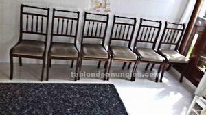 Seis sillas de salón comedor.