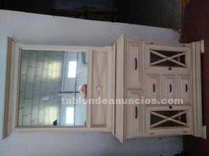 Mueble auxuliar 2 puertas y 5 cajones con marco espejo