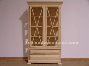 Vitrina con 2 puertas y 2 cajones sin pintar