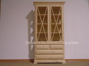 Vitrina con 2 puertas y 4 cajones sin pintar