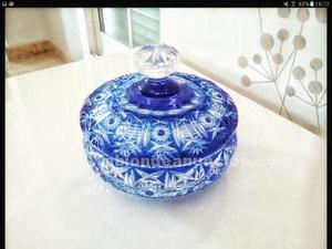 Bombonera cristal de bohemia azul original
