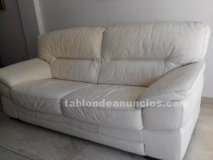 Sofa piel 3 plazas blanco gamamobel