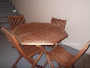 Mesa y 4 sillas de jardin