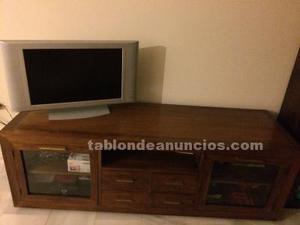 Fantastico mueble tv estanteria teca banak posot class for Mueble tv banak