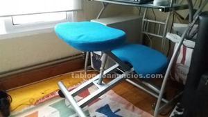 Mesa pc de cristal y silla ergonómica