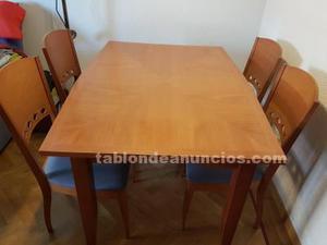 Vendo mesa de madera de salón y 4/6 sillas