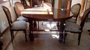Mesa de comedor redonda y 6 sillas