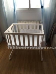 Mini cuna de bebe en madera blanca