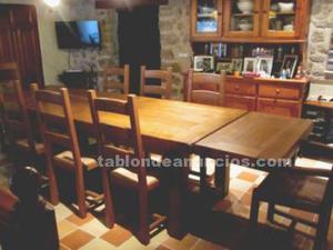 Roble macizo francés, mesa y sillas