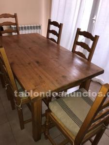 Mesa de madera rustica con 6 sillas