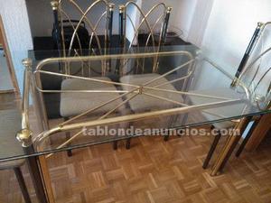 Conjunto mesa cristal comedor con seis sillas