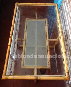 Mesa de centro de bambú y cristal. 1,2 m.