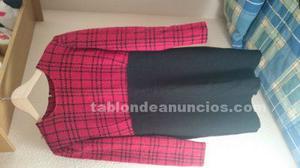 Vestido juvenil rojo y negro