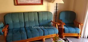 Sofa y sillones madera pino 5 plazas