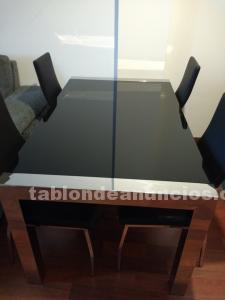 Mesa comedor cristal extensible con sillas