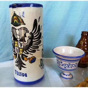 Antiguo conjunto cerámica toledana (2 piezas)