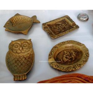 Colección 4 viejos ceniceros de bronce. Preciosos.