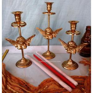 Precioso conjunto de 3 candelabros, veleros en bronce.