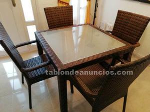 Mesa y sillones de ratan sintetico