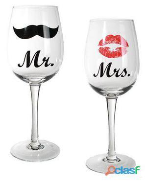 Bigbuy Copas de Vino Mr & Mrs 450 gr