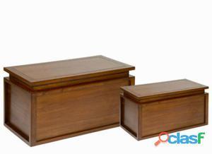 Bigbuy Juego de 2 baúles en madera - Colección Let's Deco