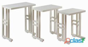 Bigbuy Juego de 3 mesas nido blancas Colección Serious Line