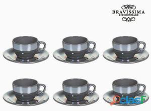 Bigbuy Juego de té en loza gris de 12 piezas Kitchen's Deco