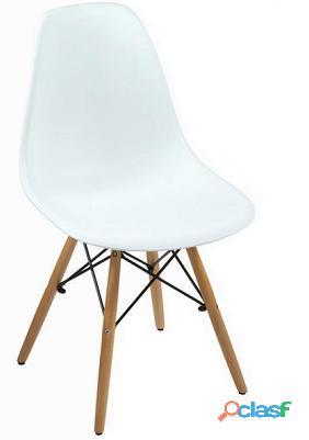 Bigbuy Silla pp blanca y haya by Craften Wood 50 kg