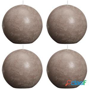 Bolsius Velas de bola rústicas 100 mm gris topo 4 unidades