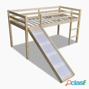 Cama alta para niños con tobogán y escalera madera natural