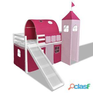 Cama alta para niños con tobogán y escalera madera rosa