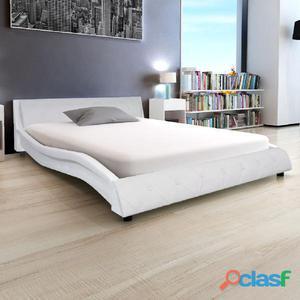 Cama con colchón viscoelástico cuero artificial 140x200