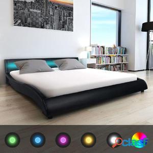 Cama con colchón viscoelástico cuero artificial 180 cm