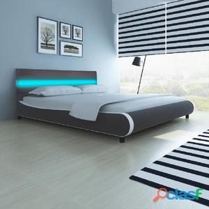 Cama de cuero artificial con cabecera luces LED y colchón
